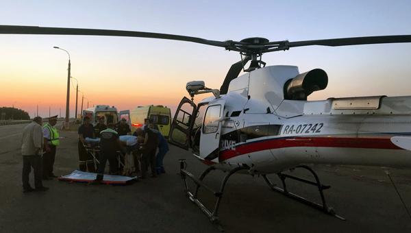 Мужчину с травмой позвоночника доставили вертолетом в больницу Подольска