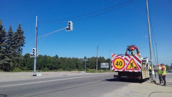В Заокском районе появился первый светофор