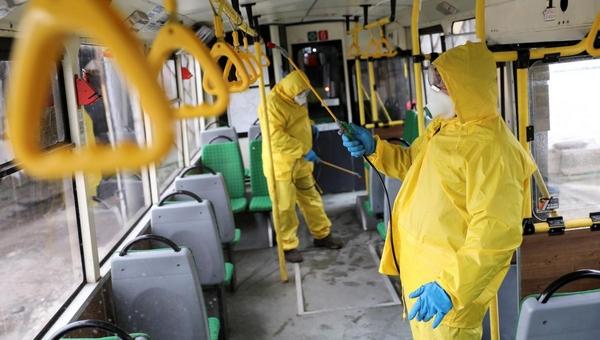 В Подмосковье общественный транспорт дезинфицируют от вирусов