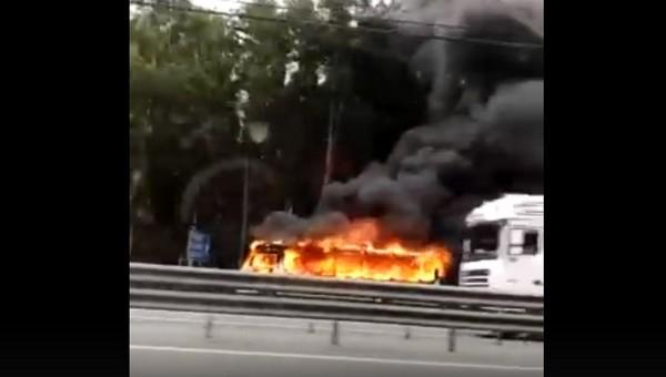В Подмосковье на трассе сгорел пассажирский автобус