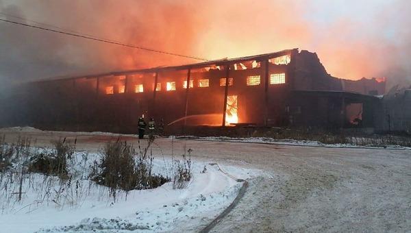 В Подмосковье горит мебельная фабрика