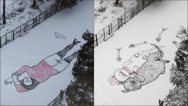 В подмосковном наукограде появляются эротические и забавные картины на снегу