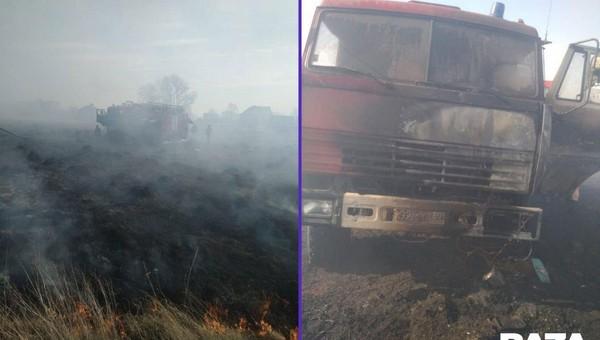 Обгорел водитель пожарной машины