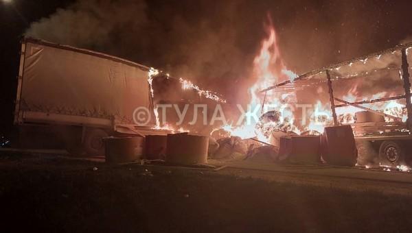 На трассе М-2 водитель фуры сгорел заживо